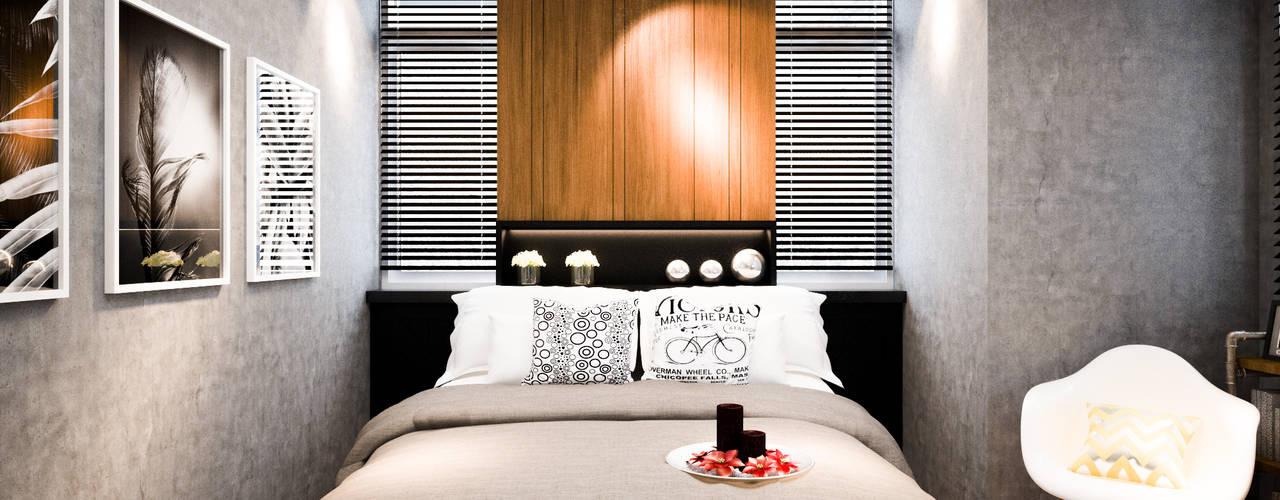 รีโนเวท JW Condo Diameter Design ห้องนอน คอนกรีต Black