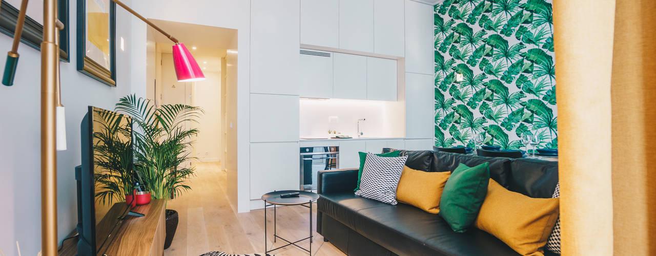 Apartamento T1 | Lisboa Salas de estar tropicais por YS PROJECT DESIGN Tropical