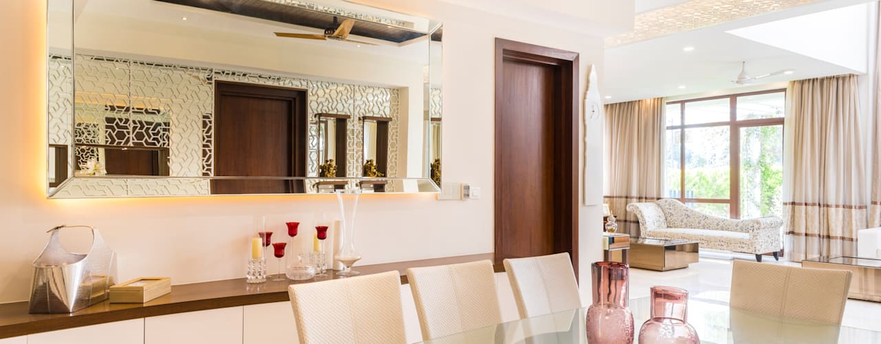 Dining with crockery unit : modern Dining room by NVT Quality Build solution