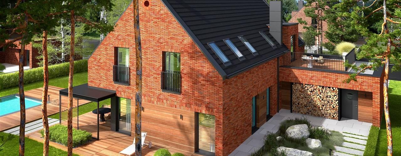 Projekt domu Teodor G2 - luksus przestrzeni i ponadczasowa uroda klinkieru w roli głównej Pracownia Projektowa ARCHIPELAG Dom jednorodzinny