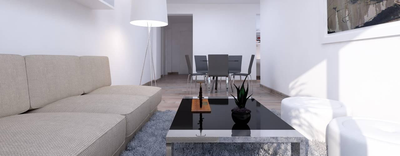 """Edificio """"Parque Prada"""": Salas / recibidores de estilo  por Estudio Allan Cornejo Arquitecto"""