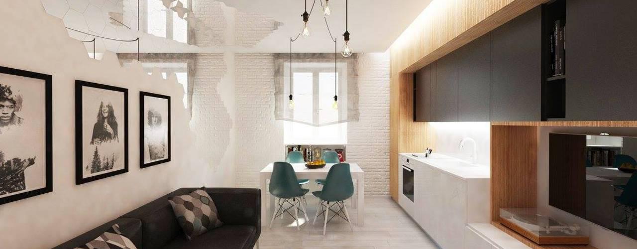 <40MQ ULA architects Soggiorno in stile industriale