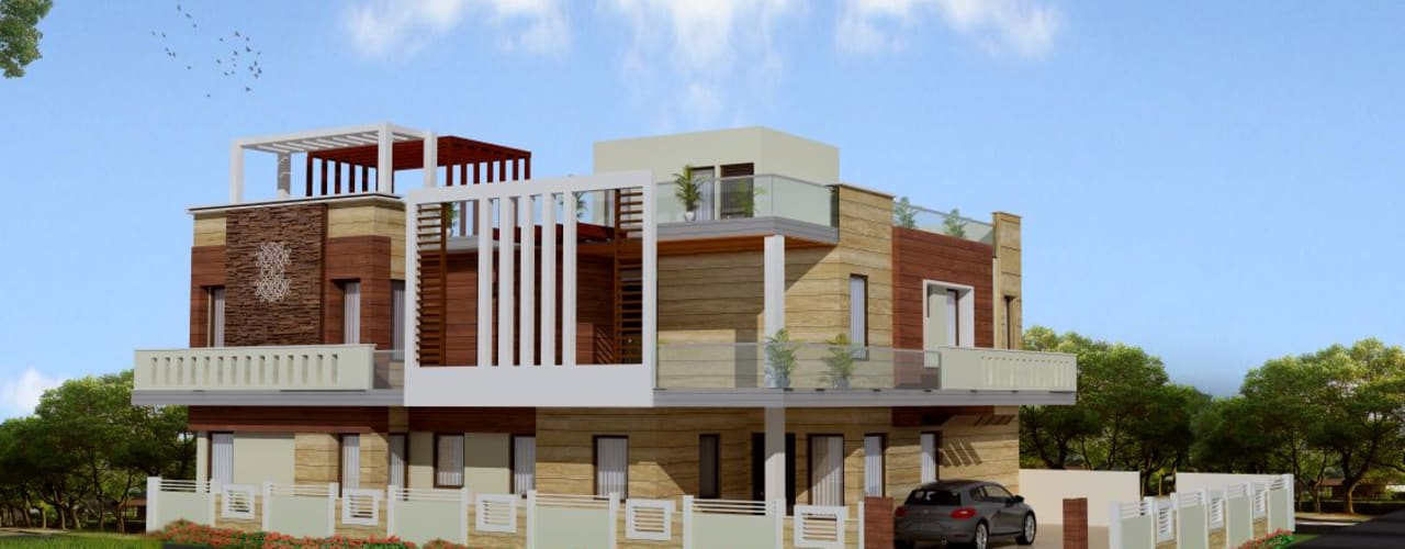 Exterior:  Houses by Kapilaz Space Planners & Interior Designer