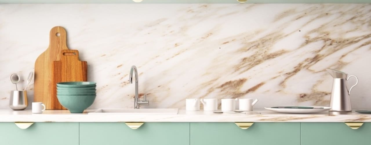 Modern Kitchen In Mint:   by Rebel Designs