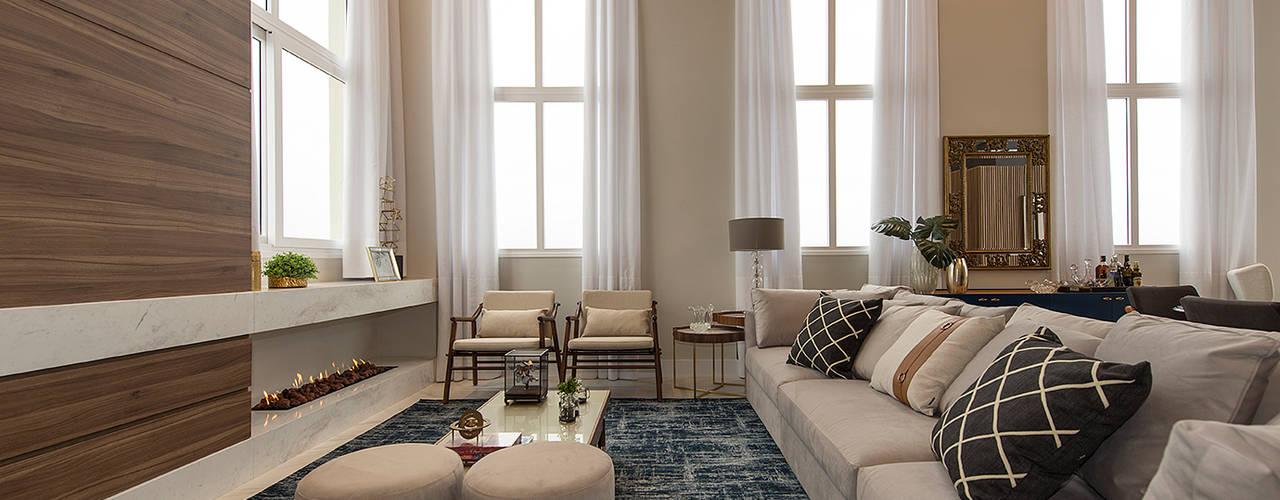 Equilíbrio entre o clássico e o contemporâneo Salas de estar modernas por Espaço do Traço arquitetura Moderno