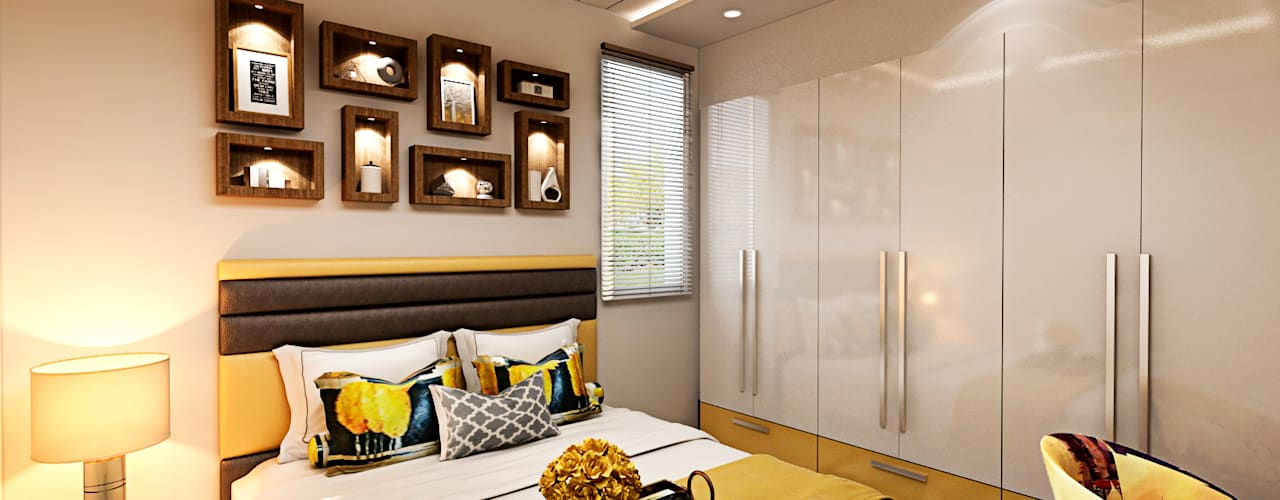DDA flat at Vasant Kunj Design Essentials Minimalist nursery/kids room Yellow