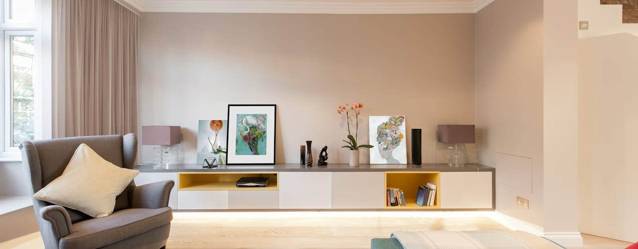 Weybridge House Refurbishment Salones minimalistas de Timothy James Interiors Minimalista
