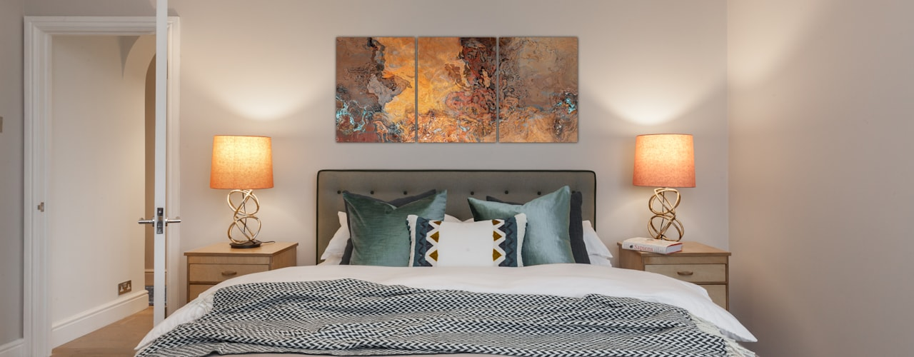 Chiswick Penthouse Apartment Timothy James Interiors Eclectic style bedroom