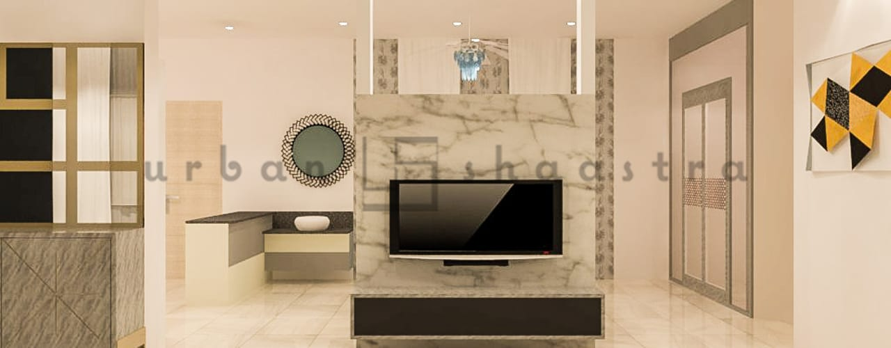 The TV Unit: minimalistic Living room by Urban Shaastra