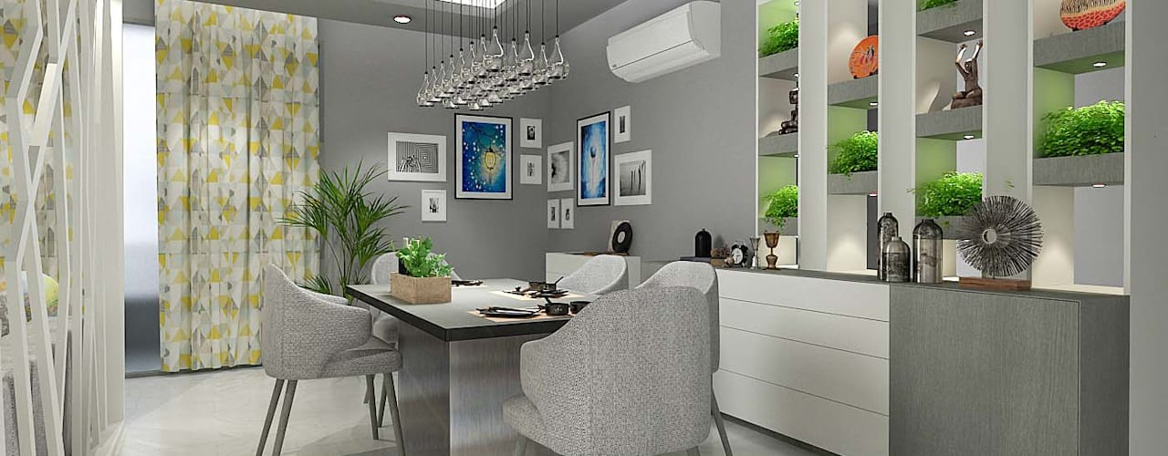 LIVING AND DINING AREA DESIGN (NEW TOWN HEIGHTS) Modern dining room by Matter Of Space Pvt. Ltd. Modern