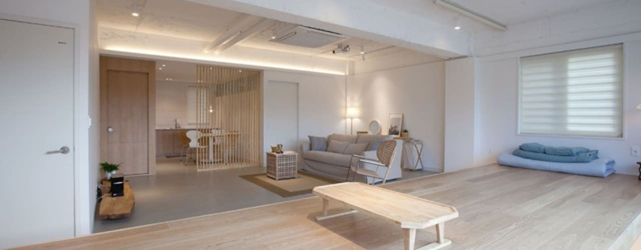 디자이너의 집 미니멀 라이프 – 상가주택 인테리어 아시아스타일 거실 by 디자인투플라이 한옥