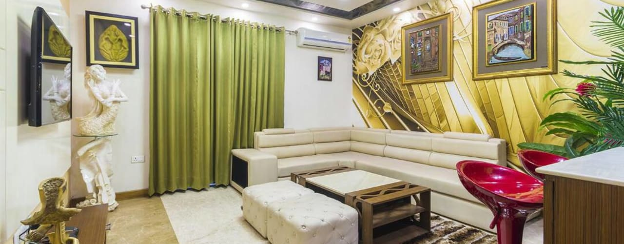 Mr. Mandal:  Living room by Incense interior exterior pvt Ltd.