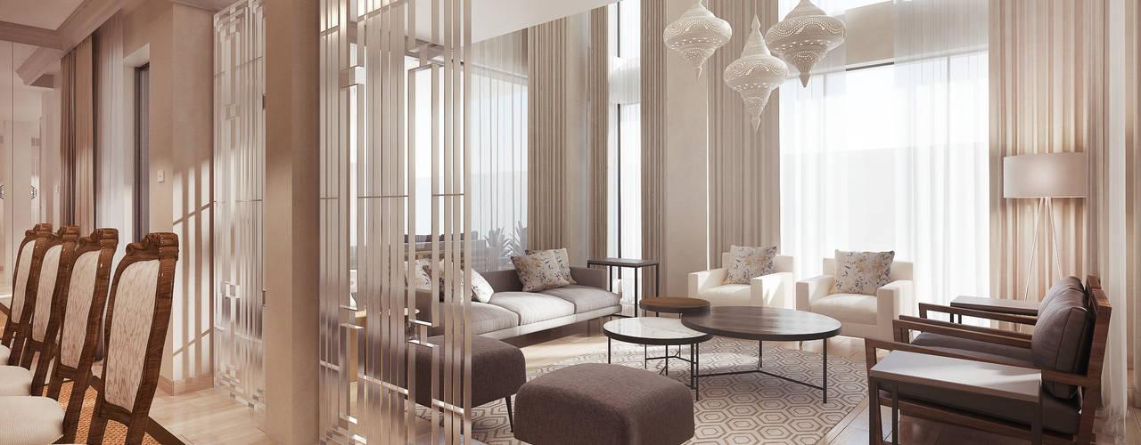 Modern Contemporary Pretoria Home:  Living room by Dessiner Interior Architectural,