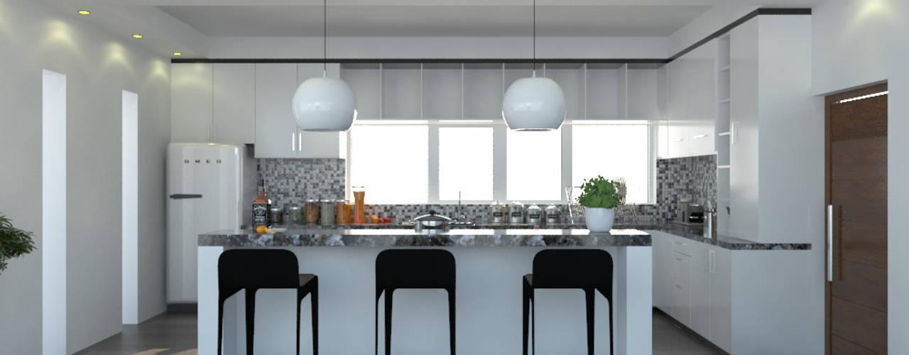 Cocina integral. Imagen + Diseño + Arquitectura Cocinas equipadas Compuestos de madera y plástico Blanco
