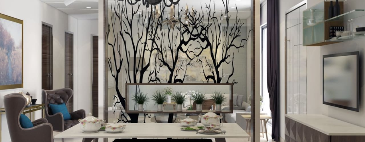 contemporary flat interiors : modern  by Rhythm  And Emphasis Design Studio ,Modern