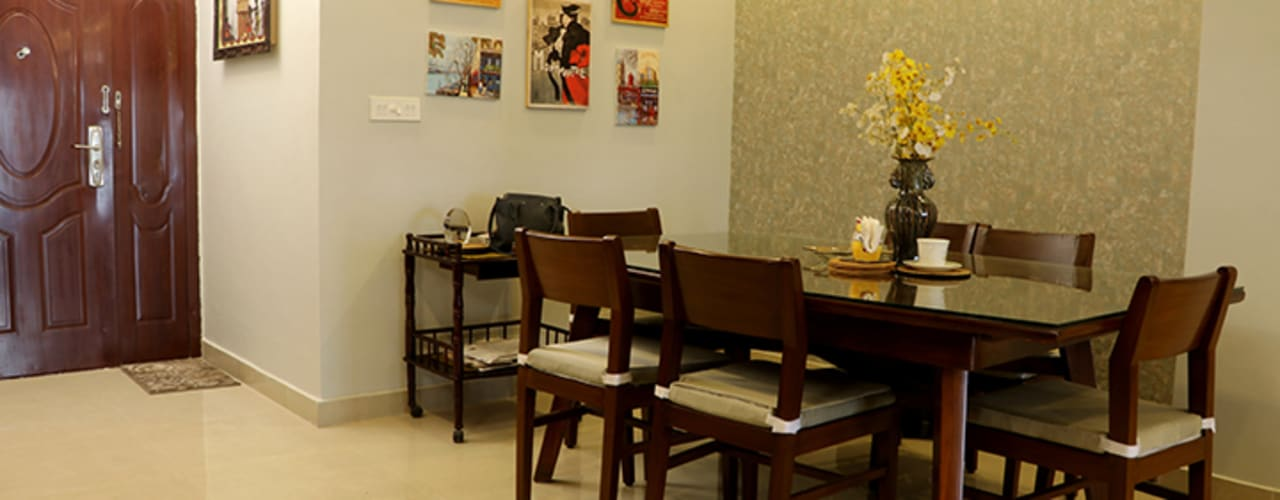 2 BHK Apartment Mrs Radha Basu Kolkata:  Dining room by Cee Bee Design Studio