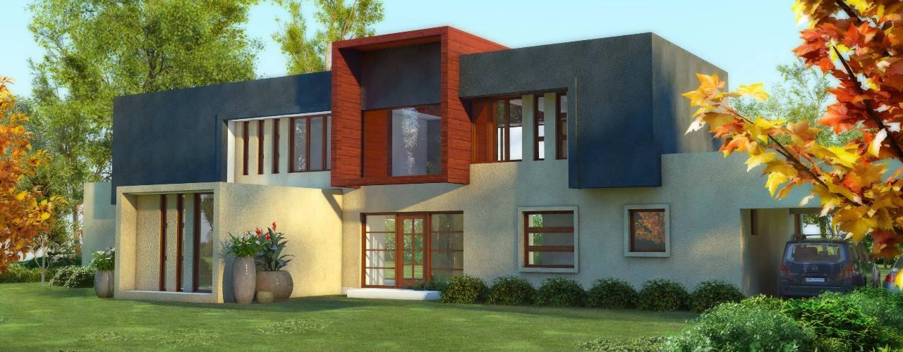 Constructora Rukalihuen Mediterranean style houses Bricks Beige