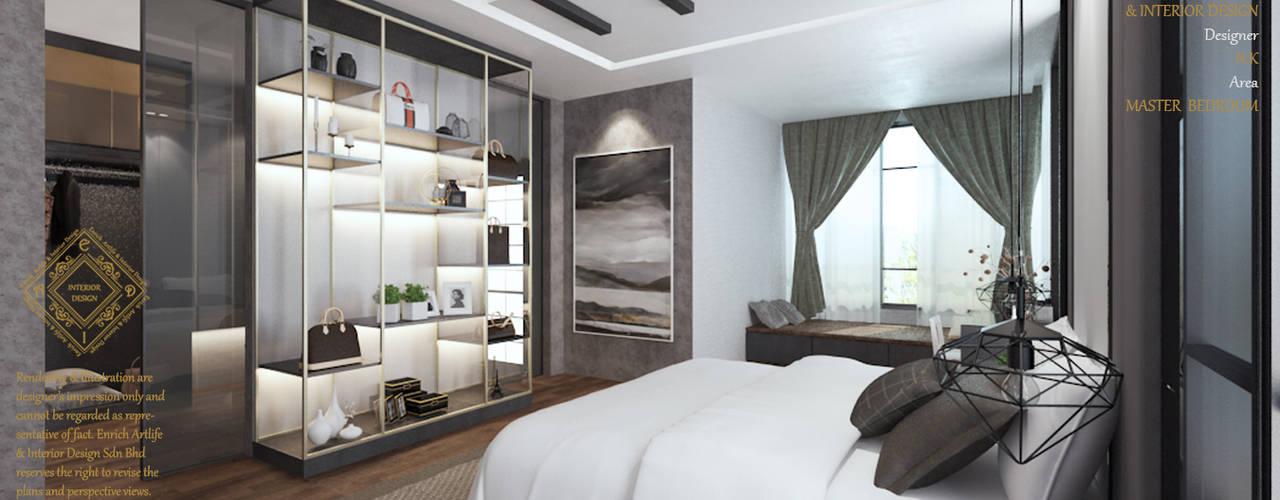 Semi Detached House - Austin Residence Johor Bahru,Malaysia:  Bedroom by Enrich Artlife & Interior Design Sdn Bhd