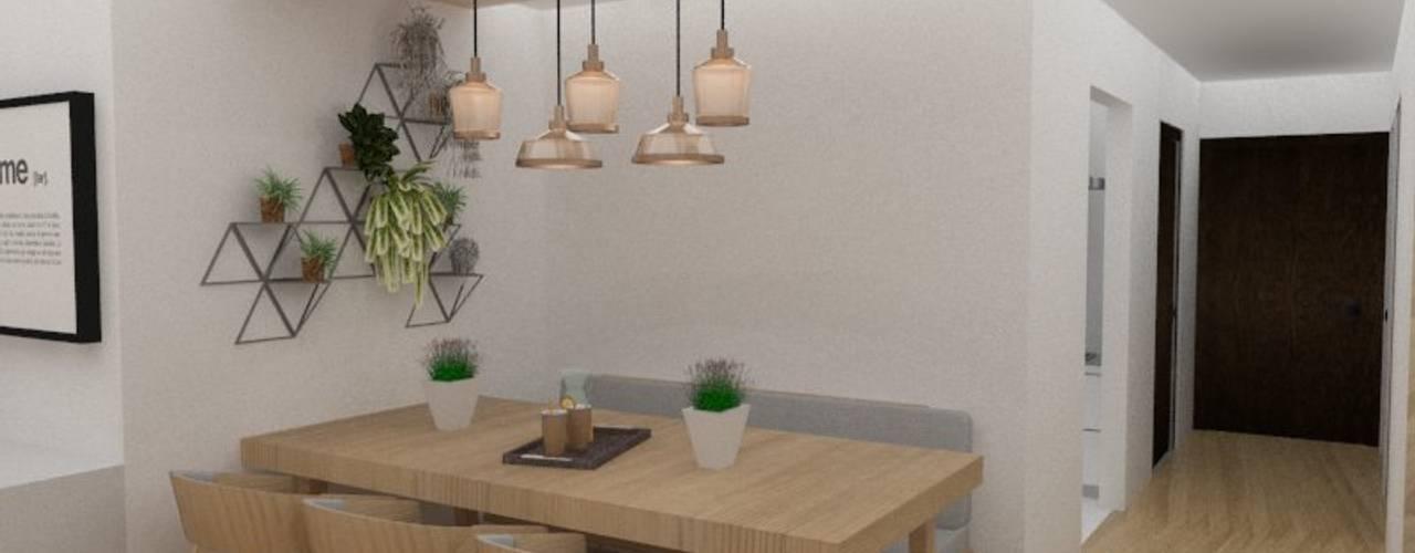 Diseño interior de departamento 78metrosCuadrados Comedores escandinavos