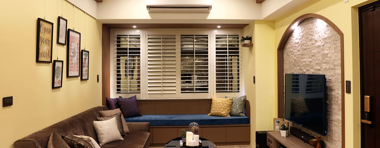 故事的故事-南法鄉村度假小屋:  客廳 by 酒窩設計 Dimple Interior Design