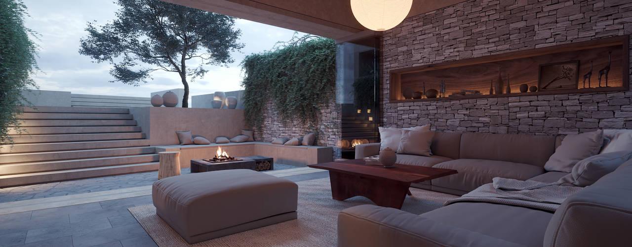 Salas / recibidores de estilo  por ADRIAN CARDENAS BUILDING WORKSHOP