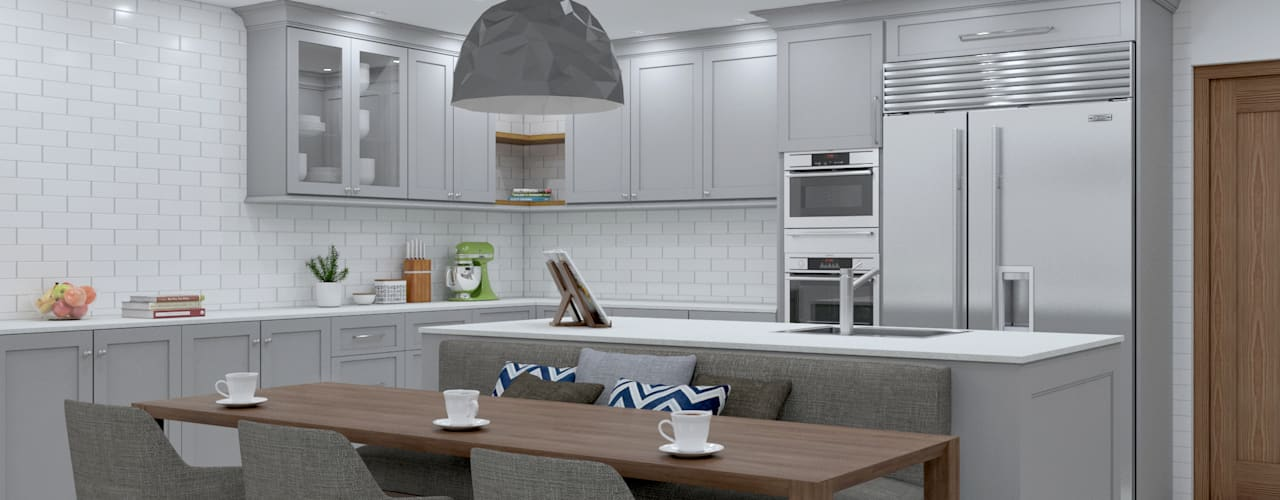 SANDTON KITCHEN - dining chairs :  Built-in kitchens by Linken Designs