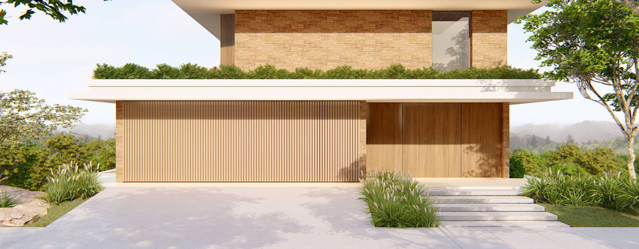 Porto automtico porto basculante fachada garagem for Fachadas de casas modernas trackid sp 006