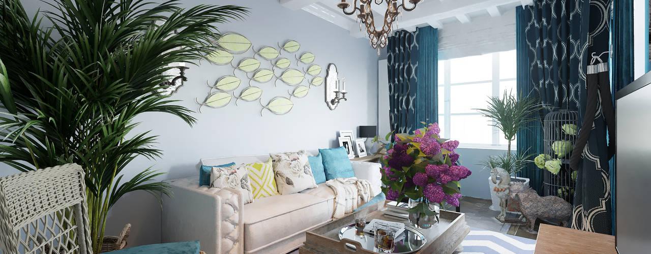 Квартира в Сочи: Гостиная в . Автор – Студия дизайна Натали Хованской, Средиземноморский