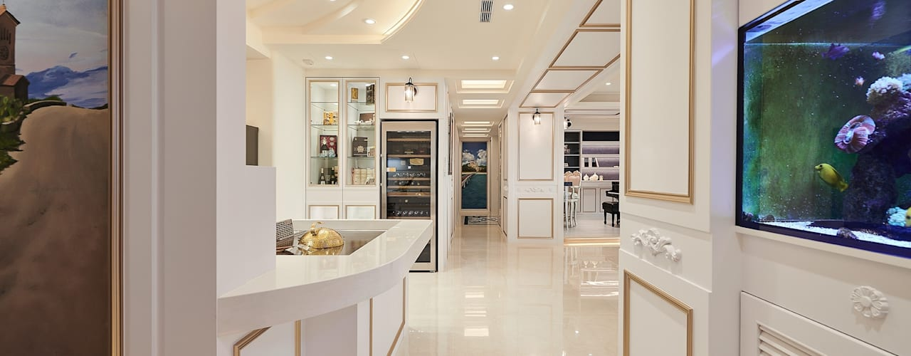 一個大夢想 x 主廚型男 (客製化藝術 mix景觀水岸宅) 經典風格的走廊,走廊和樓梯 根據 趙玲室內設計 古典風