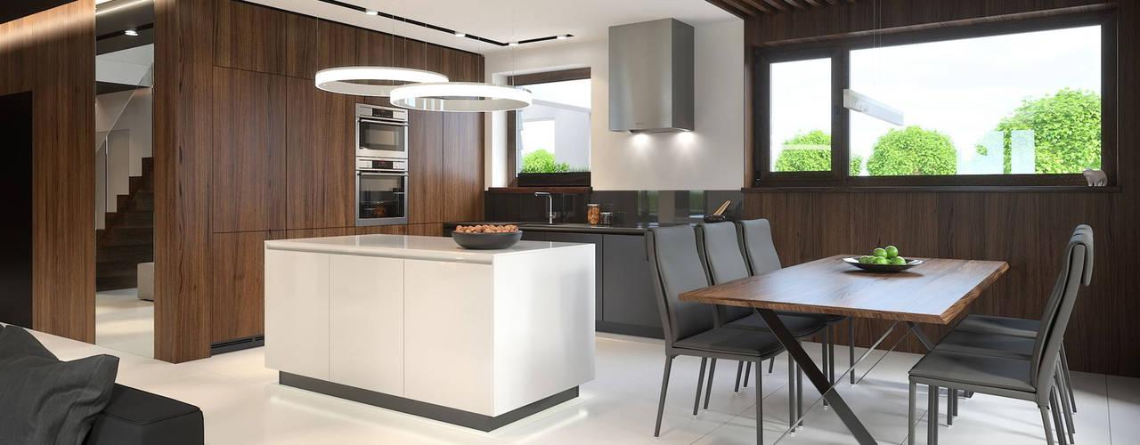 Comedores de estilo moderno de HomeKONCEPT | Projekty Domów Nowoczesnych Moderno