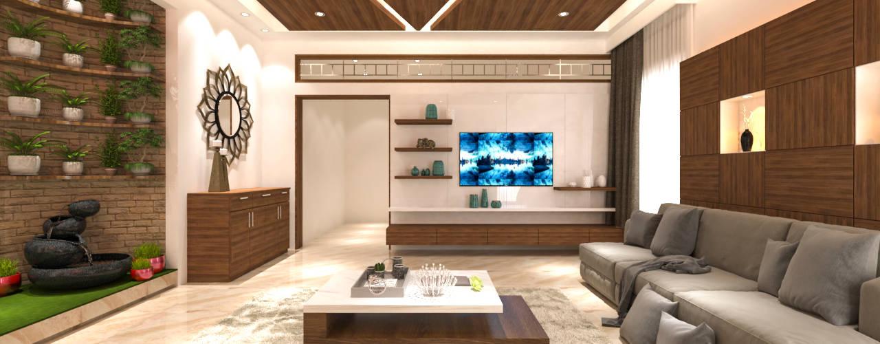 Living area tv unit:  Living room by Samanta's Studio
