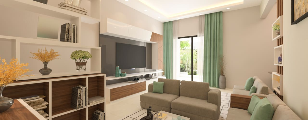 ANUJ SHARMA 3BHK Samanta's Studio Modern living room Plywood White