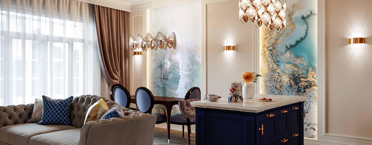 Квартира с видом на речку : Гостиная в . Автор – Студия дизайна интерьера 'Lam Interiors'