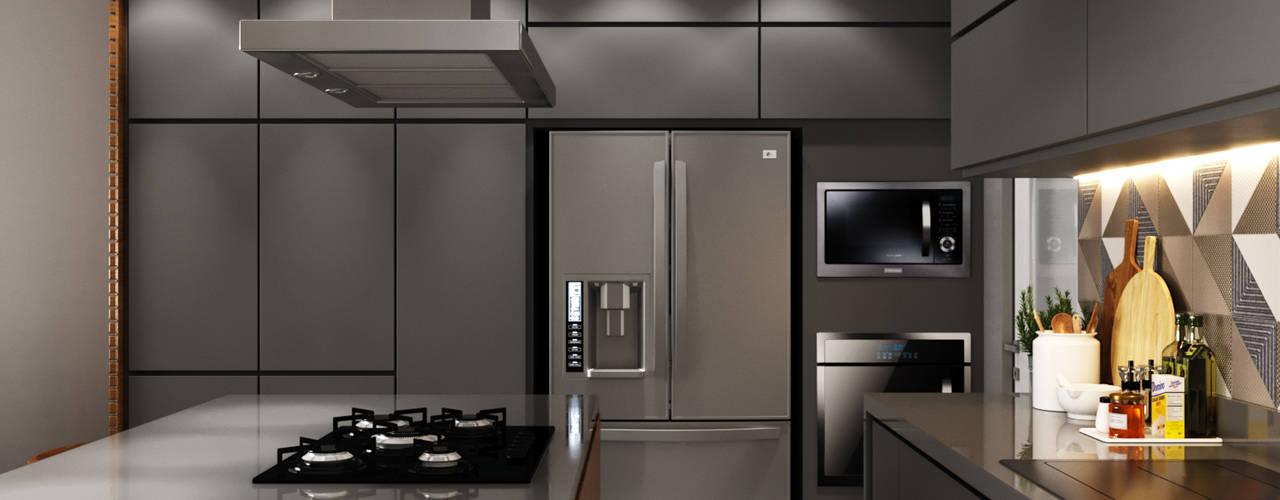 Cozinha integrada: Cozinhas  por Fabíola Escobar - Pratique Arquitetura