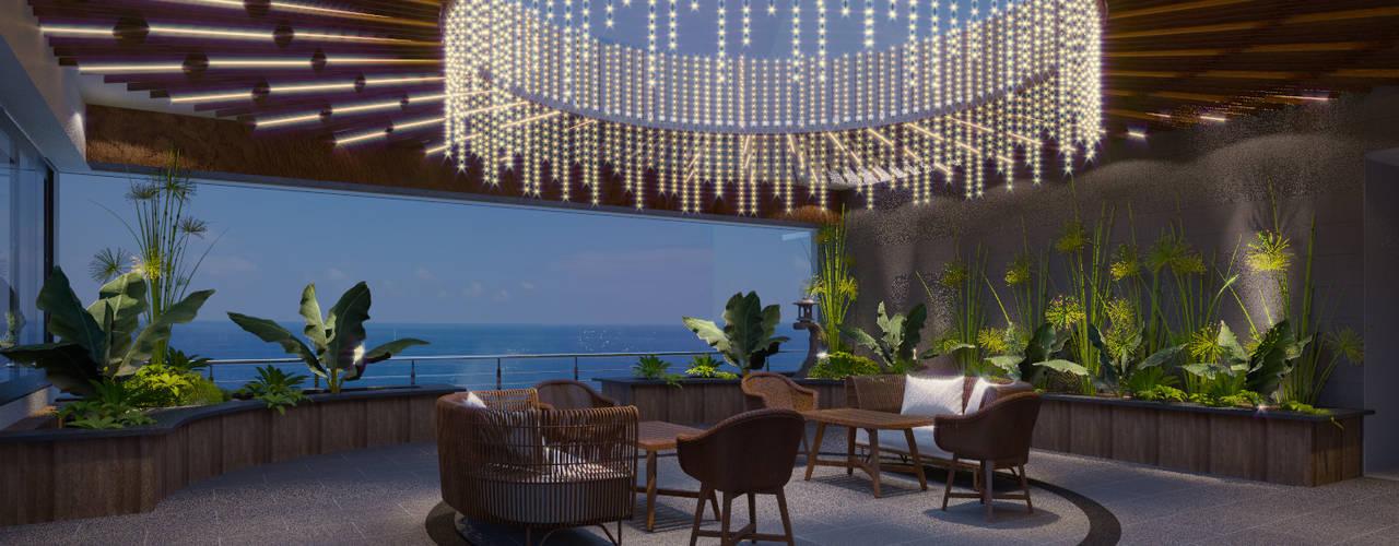 Long Beach center Penthouse - Phu Quoc:  Hiên, sân thượng by Archifix Design