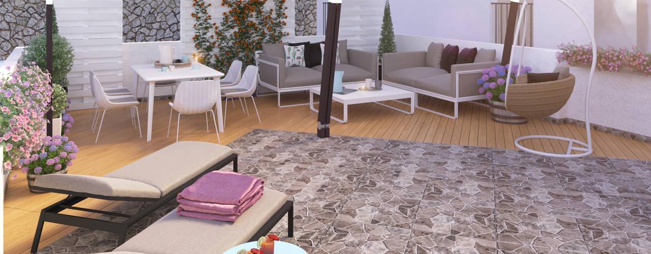 Exterior Chill Out Balcones y terrazas de estilo moderno de Glancing EYE - Asesoramiento y decoración en diseños 3D Moderno