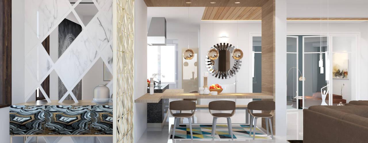3BHK flat interior design in modern style :   by Rhythm  And Emphasis Design Studio