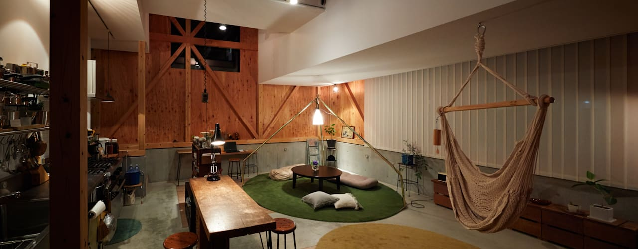 Salas de estilo  por Takeru Shoji Architects.Co.,Ltd,
