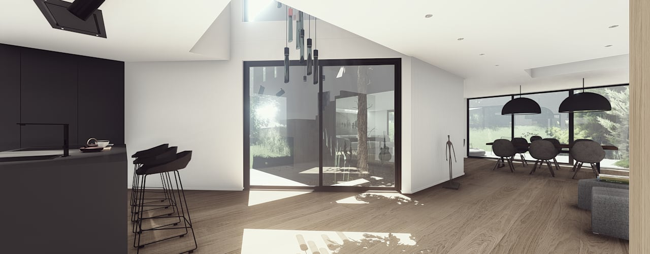 Pé-direito duplo envidraçado da casa: Salas de estar  por OGGOstudioarchitects, unipessoal lda