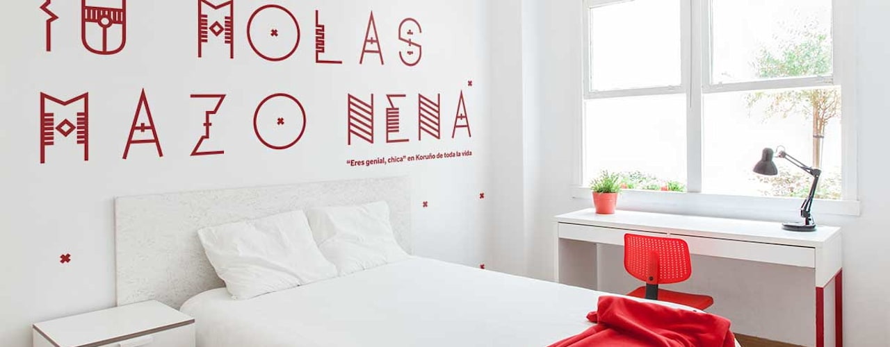 Reforma integral para un estudio de estudiantes en A Coruña: Dormitorios de estilo moderno de Imaisdé Design Studio
