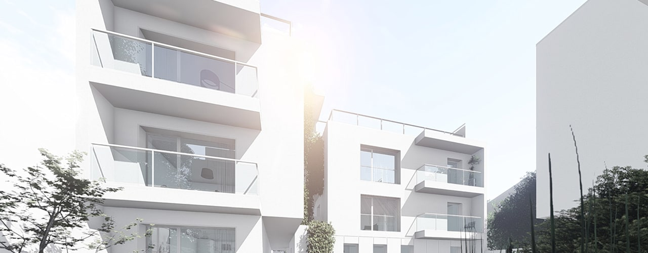 Conjunto de edifícios para habitação - Arago por OGGOstudioarchitects, unipessoal lda Minimalista