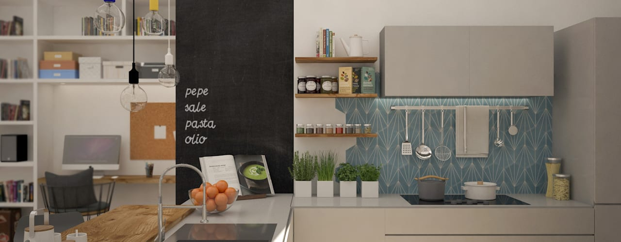 Nordic Home: Cucina attrezzata in stile  di Michela Munns Design