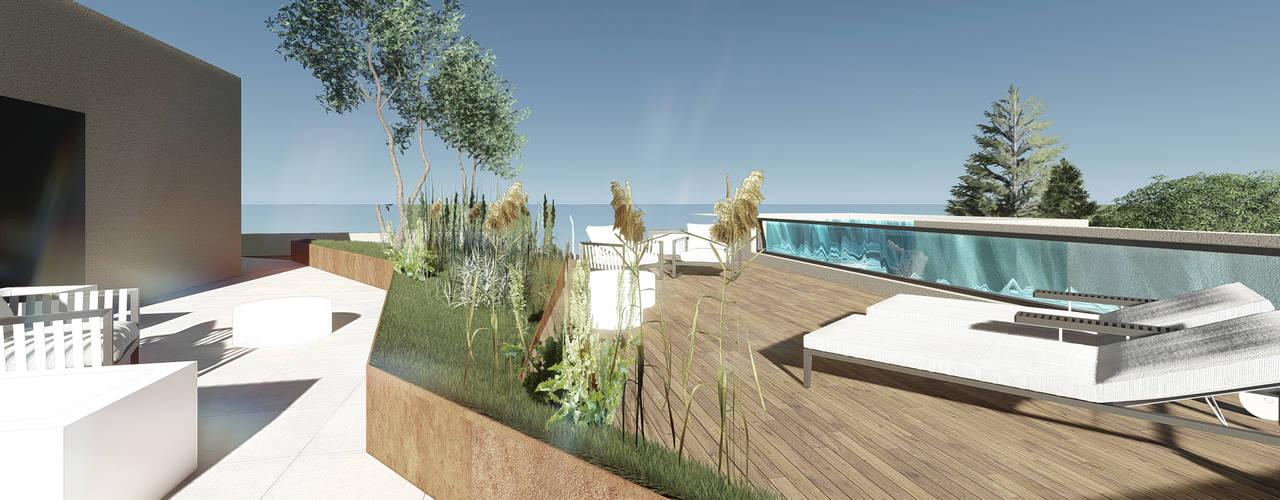Complexo habitacional Kerautret-Du Camp Varandas, marquises e terraços modernos por OGGOstudioarchitects, unipessoal lda Moderno