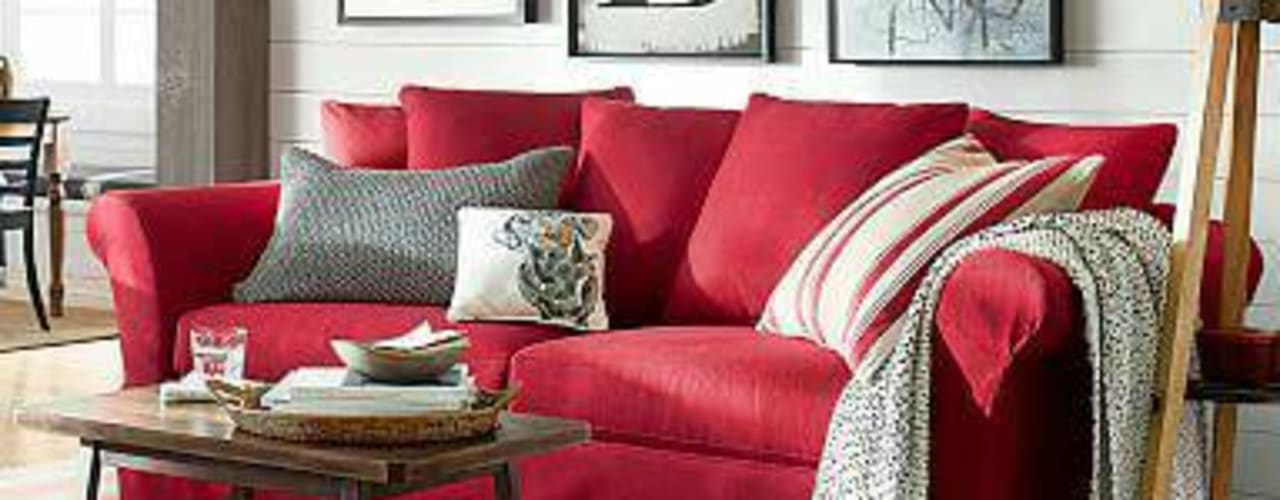 Red Sofa In The Living Room By Ak Interior Architects