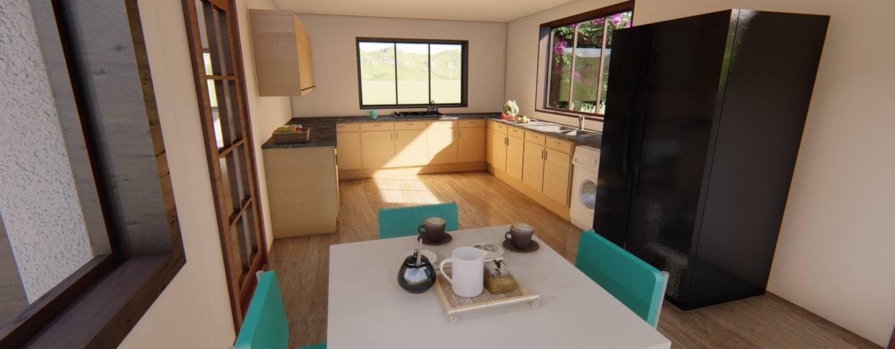 Diseño de vivienda campestre 120 m2 Cocinas de estilo clásico de Ekeko arquitectura - Coquimbo Clásico