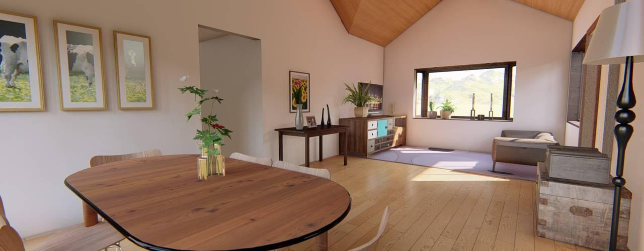 Diseño de vivienda campestre 120 m2 Comedores de estilo rústico de Ekeko arquitectura - Coquimbo Rústico