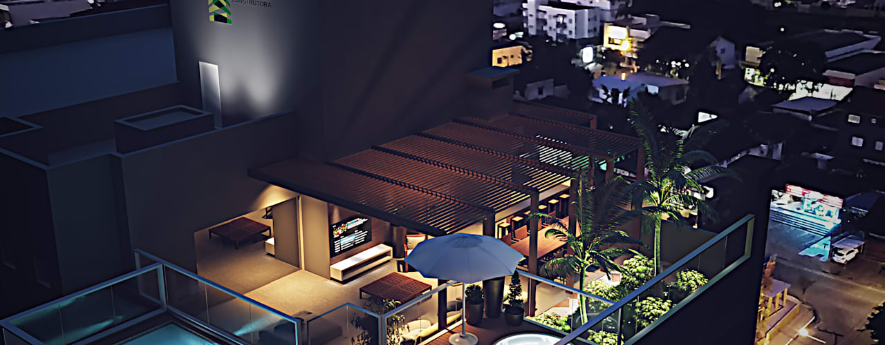 Projeto - Empreendimento Montevideo Indaial Fran Arquitetura Varandas, alpendres e terraços modernos