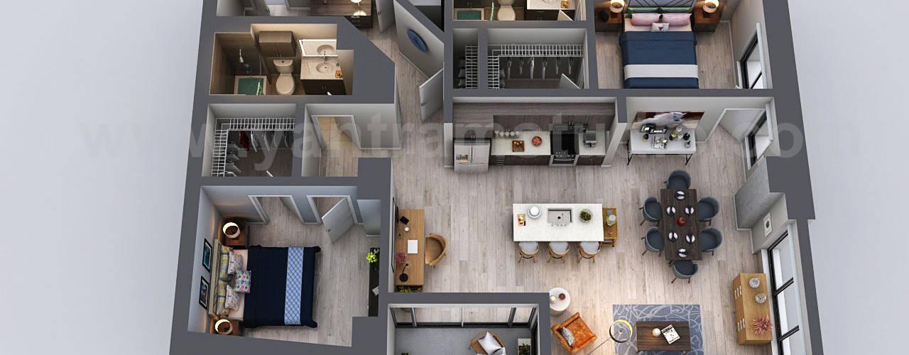 Unique Residential Apartment 3D Floor Plan Rendering Ideas by Yantram 3D Virtual Floor Plan Design, San Diego - USA od Yantram Architectural Design Studio Nowoczesny