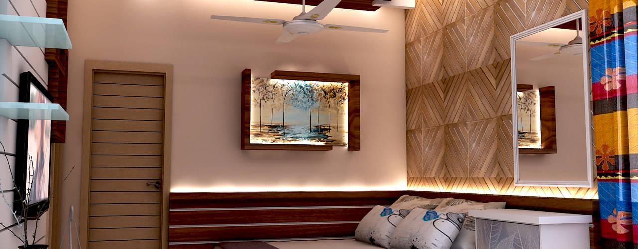 Bed room interior design for mr. Shyam Gupta ,pawanpuri , Bikaner Rajasthan:  Bedroom by divine architects