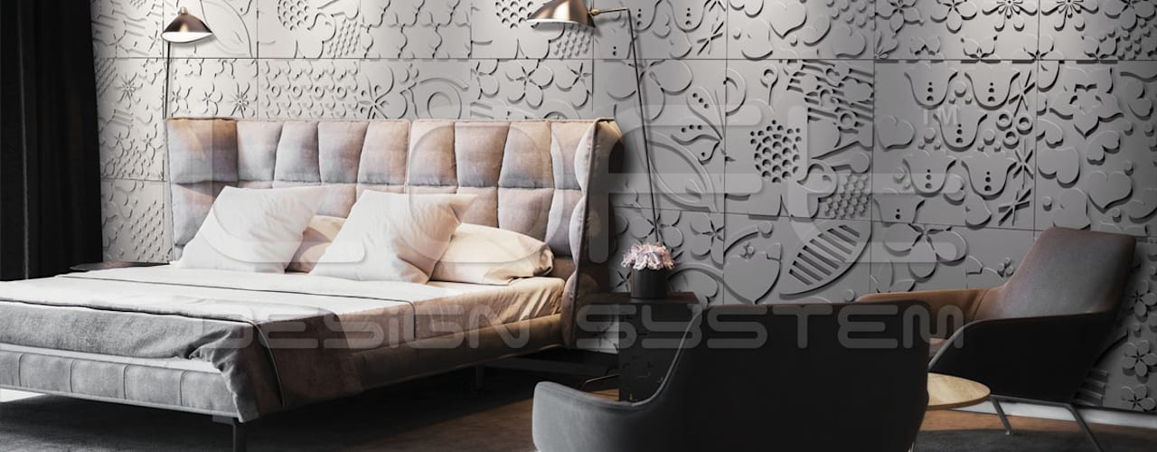 edle alternative zu wandtattoos 3d wandpaneele aus floralen mustern. Black Bedroom Furniture Sets. Home Design Ideas